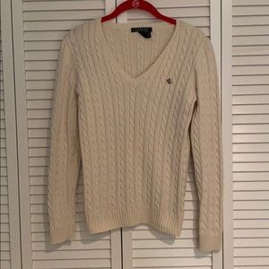 Ralph Lauren V Neck Cable Knit Sweater